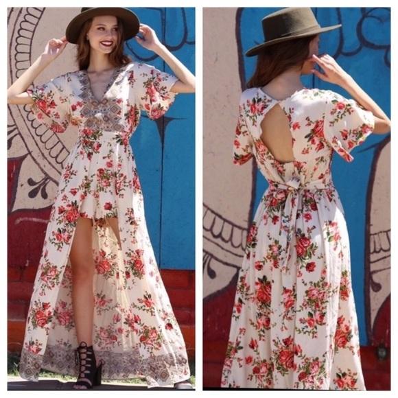 Fernweh Boheme Pants - Floral Maxi Romper/Jumpsuit